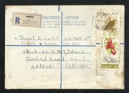 Malawi Registered Air Mail Postal Used Cover Malawi To Pakistan Birds Bird Animal Fruit - Malawi (1964-...)