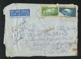 Malawi 1986 Air Mail Postal Used Aerogramme Cover Malawi To Pakistan Fish Animal  AS PER SCAN - Malawi (1964-...)
