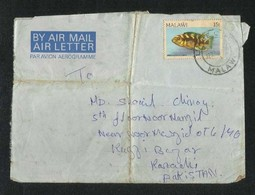 Malawi 1985 Air Mail Postal Used Aerogramme Cover Malawi To Pakistan Fish Animal  AS PER SCAN - Malawi (1964-...)