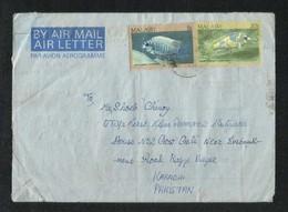 Malawi 1987 Air Mail Postal Used Aerogramme Cover Malawi To Pakistan Fish Animal - Malawi (1964-...)