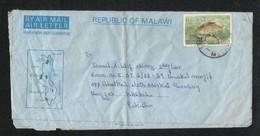 Malawi 1989 Air Mail Postal Used Aerogramme Cover Malawi To Pakistan Fish Animal - Malawi (1964-...)