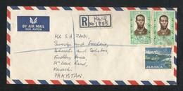 Jamaica 1971 Registered Air Mail Postal Used Cover Jamaica To Pakistan - Jamaica (1962-...)