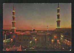 Saudi Arabia Picture Postcard Night Scene Aerial View Holy Mosque Medina Madina View Card Islamic - Saudi Arabia
