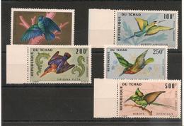 TCHAD  Oiseaux  Années 1966/67  P.A. N° Y/T : 30/34**   Côte : 26,50 € - Tchad (1960-...)