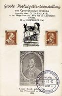 "Feuillet Commémoratif ""Groote Postzegeltentoonstelling, Gent, Okt 1942"" Avec 2 Timbres COB 570 Perforés - Perforés"
