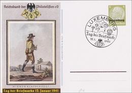 1941 Luxemburg: Ganzsache P3, Tag Der Briefmarke - Occupation 1938-45