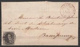 """L. Affr. N°3 Càd FARCIENNES /30 FEVR 1851 Pour DAMPREMY (au Dos: Cachet """"Etablissements De Ste-Marie D'Oignies"""" & Càd CH - 1849-1850 Medallions (3/5)"""