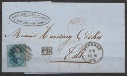 L. Datée 16 Septembre 1863 De WARCHIN Affr. N°15 P120 Càd TOURNAY /16.9.1963 Pour LILLE - Port Frontalier - [PD] Luxe ! - 1863-1864 Medallions (13/16)