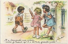 CPA . GERMAINE BOURET . -IL A DEMANDE MA MAIN MAIS JE TROUVE QU'IL A DE TROP GRANDS PIEDS ! ..  ECRITE LE 25-6-1943 AU V - Bouret, Germaine