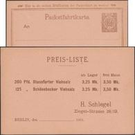 Allemagne 1889. Poste Locale Privée « Packetfahrt». Commande De Sel Pour L'alimentation Du Bétail. Salines. Viehsalz - Agriculture