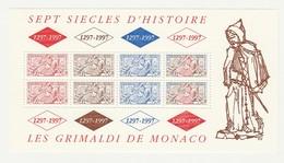 """Monaco : 1997 - Feuillet N° 75 -  N° 2086 à 2088A X 2 - """"Sept Siècles D'histoire - Les Grimaldi : Sceau Du Prince"""". - Blocks & Sheetlets"""