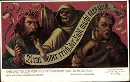 Artiste Cp Hildesheim Niedersachsen, Arm Oder Reich, D. Tod Macht Alles Gleich, Knochenhaueramthaus - Germania