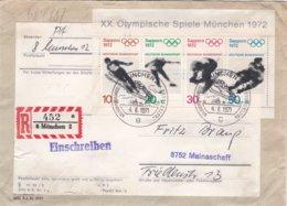 Germany FDC 1972 Sapporo Olympic Winter Games Souvenir Sheet - München COD/Nachnahme. Bowed Corners  (G97-19) - Winter 1972: Sapporo