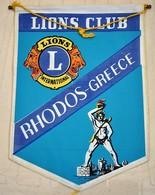 Rare Fanion Lion's Club Rhodes Grèce - Organisations