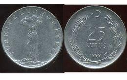 TURKEY TURQUIE 25  Kurus 1969 - Turquie