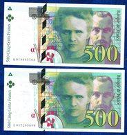 LOT 2 BILLETS 500FR CURIE FRANCE TTB++++++++++++ - 1992-2000 Dernière Gamme