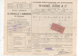 La Rochelle/Cognac à Hambourg 1893  Connaissement     2 Fûts De Cognac ... Avec Timbre Fiscal  (PPP9868) - Transport