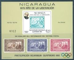 NICARAGUA - MNH/** - 1979 - SIR ROWLAND HILL -  Mi BLOK 112 -  Lot 18448 - RARE !!! - Nicaragua