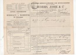 Bordeaux  à Hambourg 1893  Connaissement     1 Fût De Cognac ... (PPP9870) - Transport