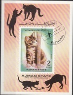 Ajman 1972 Mi. Bf. 400B Gatti Cats Chat Sheet Imperf. CTO - Ajman