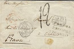 1862- Env. D'Amérique Du Sud Pour Orléans - Marque G B / 1f 87 5/10 Encadré Taxe 12 + PANAMA /22 MY 1862 /TRANSIT - Marcofilia (sobres)
