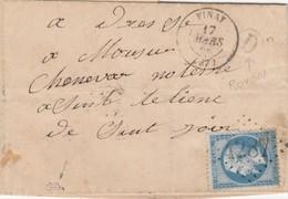 LETTRE SIGNEE. 17 MARS 66. ISERE VINAY. GC 4287.  BOITE RURALE  D =  ROCHE. POUR VOIRON - 1849-1876: Classic Period
