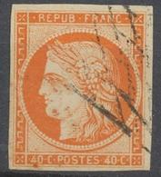 France Classique N°5 40c Orange Obl. Grille Sans Fin Très Légère Superbe X4655 - 1849-1850 Cérès