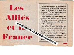 TRACT 39/45 - LES ALLIES ET LA FRANCE - FEVRIER 1943 - Historische Documenten