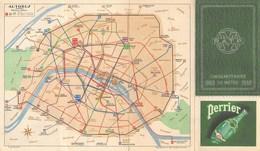 METRO - AUTOBUS  PLANS  CINQUANTENAIRE DU METRO 1900 - 1950  PUBLICITE EAU PERRIER - Europe