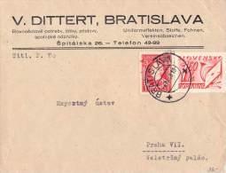 MiNr. 40 + P 33 Auf Brief Slowakei - Slovaquie