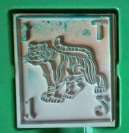 Tampon Bois, Animal, Tigre, Lettre Alphabet T -  Format 4,5 Cm X 5 (épaisseur 1,7 Cm) - Loisirs Créatifs
