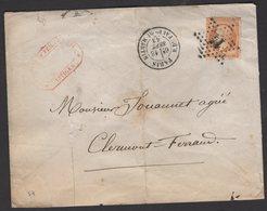 PARIS: Pli Avec 40c Empire Dentelé  Oblt Etoile 14 + CàDate PARIS R. DU FAUBg-St-MARTIN Pour CLERMONT FERRAND - 1849-1876: Période Classique