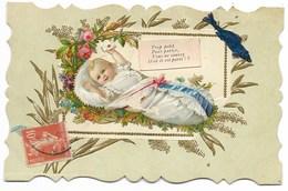 1er AVRIL - Carte Gaufrée Avec Découpis...Bébé... Bords Dentelés - 1er Avril - Poisson D'avril