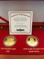 Coffret Pièce En Or Plaqué : 20$ 1933 Double Eagle USA Et Single 9 Kruggerand 1898 South Africa + Certificat - Monnaies
