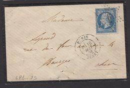 PARIS: Pli Avec 20c Empire Dentelé  Oblt Etoile 6 P1 + CàDate PARIS SENAT Pour BOURGES - 1849-1876: Période Classique