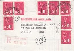LETTRE. MARIANNE DE BEQUET 0,50 X 8. RECOMMANDÉ AVEC AR. LYON - 1971-76 Marianne (Béquet)