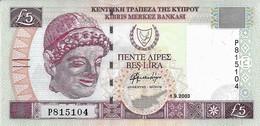 Cyprus 5 Pounds 2003. AUNC UNC - Chypre