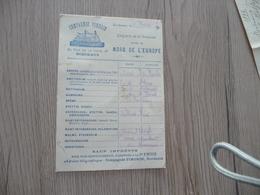 Transport Maritime Pub Carte  Compagnie Pimorin Bordeaux Départ Liaison Nord De L'Europe 1894 - Transport