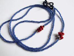 Cordon à Lunettes Artisanal, Perles Japonaises, Matsuno Frosted Cobalt-lined Crystal, Corail Rouge, Achat Solidaire, Tra - Bijoux & Horlogerie