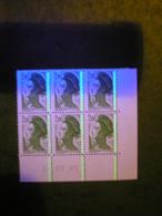FRANCE - CURIOSITE N° 2484 - Coin Daté De 6 TP Avec Prolongement Des Bandes De Phosphore Sur Les Bords De Feuille A VOIR - Curiosidades: 1980-89 Usados