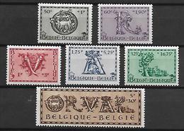 BELGIQUE     -  1943.   Y&T N° 625 à 630 *.  Abbaye D' Orval.   Série Complète. - Belgique