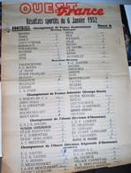 Rare Affiche Ouest-france Résultats Sportifs Du 6 Janvier 1952 Championnats De Football - Affiches