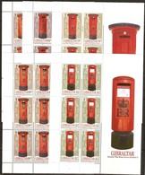 Gibraltar 2016 Micheln° 1751-1755 *** MNH Feuillets Complètes Pillar Boxes Postbox Postbussen - Gibraltar