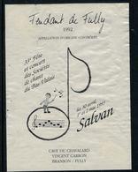 Rare //Etiquette De Vin // Musique // Fendant De Fully, 33ème Concert Des Sociétés De Chant Du Bas-Valais - Musique