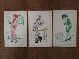 Illustrateur Manuel Vanasek - 3 Cartes Différentes En Bel état - Femme, Chat Noir, Far à Poudre, Chien, Cigarette - Illustrateurs & Photographes