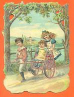 """CHROMO DECOUPIS Gaufré  """" Enfants Sur Une Charette """" - Children"""