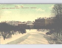 RIGA Farblitho WINTER SCENE Winter-Ansicht Stadt-Canal Sent 1912 - Lettland