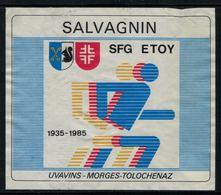 Rare //Etiquette De Vin // Gymnastique // Salvagnin, SFG Etoy 1935-1985 - Etiketten