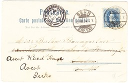 1904 Karte Mit Bärenwärter Aus Bern Nach London Weitergeleitet Nach Ascot, Kleiner Eckbug - 1882-1906 Armoiries, Helvetia Debout & UPU