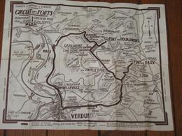 Carte Avec 2 Circuits Pour La Visite Des Champs De Bataille De VERDUN - Guerre 14/18 - Forts, Cimetières, Monuments,... - 1914-18